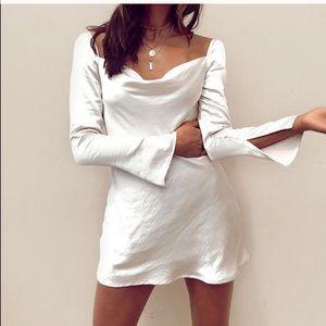 Satin cowl mini dress beige 4